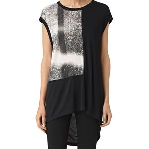 Allsaints twilight step high low tunic top size Xs